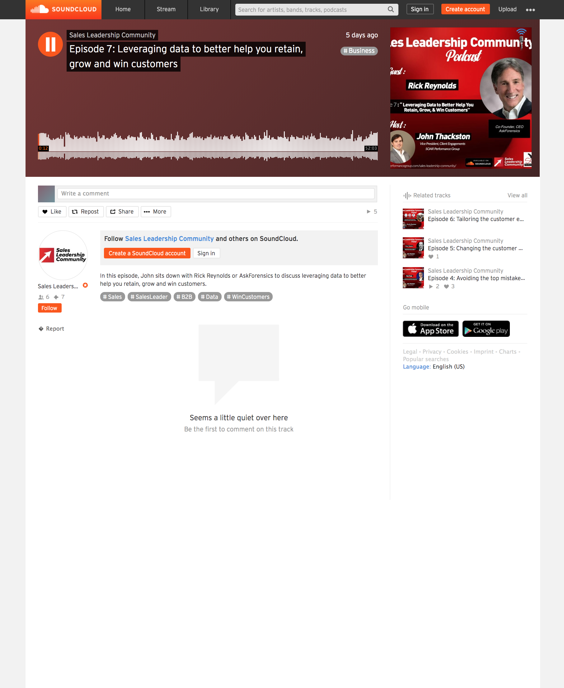 Sales Leadership Community Podcast – John Thackston (VP, Client Engagements, SOAR Performance Group) Interview of Rick Reynolds (CEO, AskForensics)   June 2019